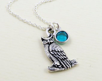 Silver Owl Necklace, Personalized Owl, Owl Jewelry, Owl Pendant, Bird Jewelry, Nature Jewelry, Personalized Bird Necklace, Birthstone