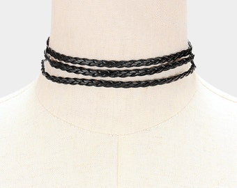 Triple Strand Braided Leather Choker Necklace