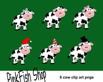 Digital Cow Clip Art (6 pack)