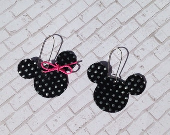 Mouse earrings, hand painted black mouse earrings