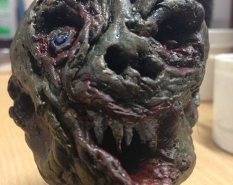 Sculpture Creepy Monster Undead Clay Head