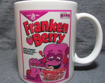 Franken Berry Cereal Box Monster Cereal Vintage Image on 11 oz Coffee Mug - COLLECT ALL FIVE!! - Sweet Novelty Gift Idea