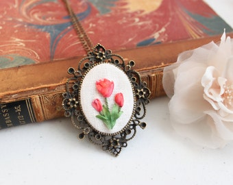 Victorian Tulip Necklace - Silk Ribbon Embroidered - copper setting