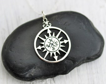 Compass Necklace - Sterling Silver Compass Rose Necklace - Compass Pendant - Graduation Gift - Nautical Necklace - Journey Necklace - Travel
