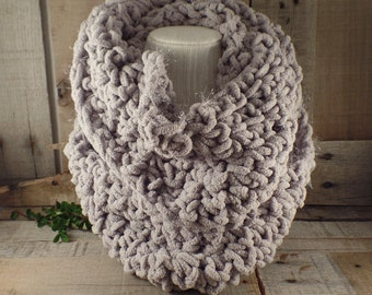 Urban Crochet Knit Infinity Scarf in Fog with Super Subtle Sparkle Item #561