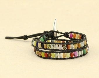 Rainbow rice natural stone beads braided bracelet, leather bracelet, wrap bracelet, friendship bracelet, couples bracelet, S 353