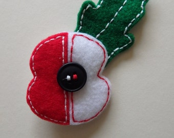 White and red poppy brooch - made to order