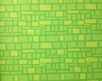 "Wilmington Prints ""On the Go"" Green Blocks  Cotton Fabric"