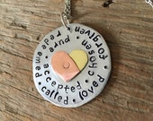 Hand-Stamped Circle Heart Necklace - Identity in Christ