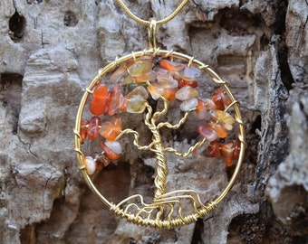 Árvore Tree Of Life Citrine Gold Pendant