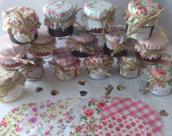 50 X Wedding favour Fabric mini jam jar lid top covers PINK MIX + twine + bands + labels