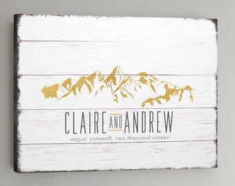 Wedding Guest Book Wood - 30-150 Guests - Gold Wedding Guestbook Rustic Mountain Guestbook Wedding Guestbook CANVAS - White