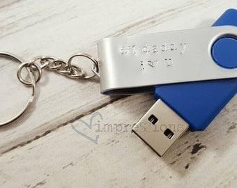 8 gb USB key keychain. Personalized.   Father's day.  Teacher. Jump drive.