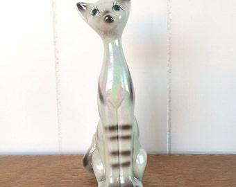 Cat, cat figurine,siamese cat,lusterware,vintage, porcelain, kitten figurine,glazed earthenware,unique gift,