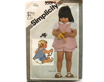 1980s Vintage Sewing Pattern - Simplicity 5561 - Toddler Reversible Jumper