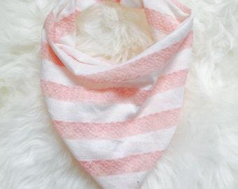 Pink lace and white jersey super light weight bandana bib