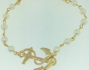 Gold Pearl chain anchor bracelet
