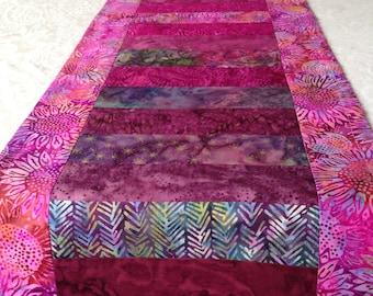 Magenta batik table runner