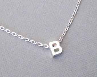 Block Letter Necklace, Initial Pendant, Personalized Jewelry, Small Uppercase Alphabet Bead, Minimalist, Tiny Charm, Silver Plated