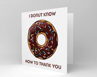 New  Thankyou Thanks Donut Doughnut Art Greetings Greeting Card Gift CS1234
