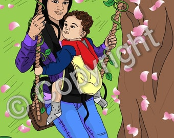 Babywearing - Mother carrying her son - Digital Art To Download
