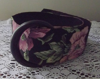 Floral Fabric Covered Belt, 35 x 2 3/4 inches