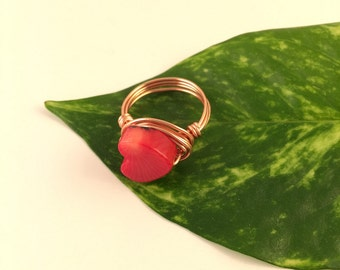Red Coral Heart Ring, Wire Wrapped Ring, Gemstone Ring, Gift for her