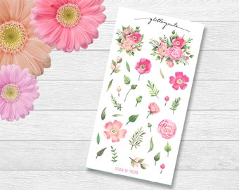 Pink Rose Flowers Planner Stickers