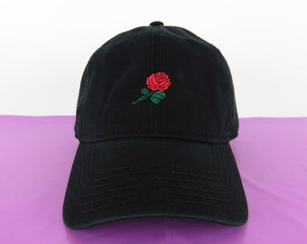 NEW Rose Baseball Hat Dad Hat Low Profile Black Casquette Embroidered Unisex Adjustable Strap Back Baseball Cap