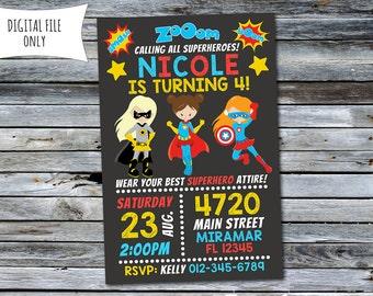 Girl Superhero Invitation / Girls Superhero Birthday Invitation (Personalized) Digital Printable File