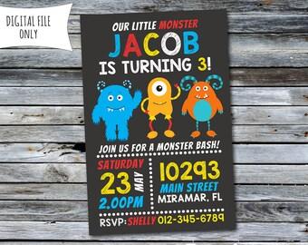 Monster Birthday Invitation / Monster Invitation / Monster Bash (Personalized) Digital Printable File