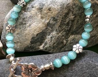 Teal Flower Bracelet