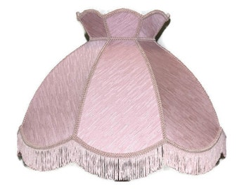 """22"""" Crowned Lamp shade Round Dusky pink fringed"""