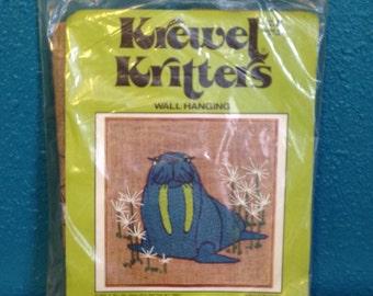 Vintage Krewel Kritters 1960's Crewel Creatures Unopened Embroidery Kit Animal Walrus