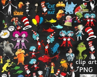50% OFF Dr Seuss Clipart - Cat in the Hat / Lorax / Grinch / Horton Hears a Who - 51 images