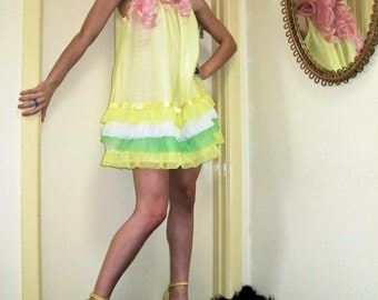 Lemon Sorbet Ruffled Vintage Nightie/Dress.