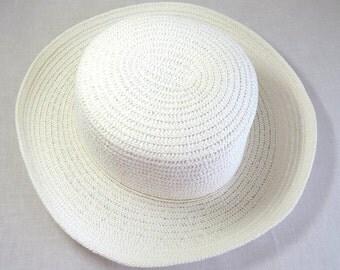 Vintage White Straw Hat, Church Hat, Wedding Straw Hat, One size Hat