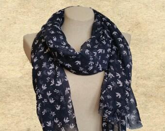 Bird scarf shawl, Women fashion scarf, Blue swallow scarf, Lightweight scarf, Large shawl scarves, Soft fabric scarf, Dark blue scarf