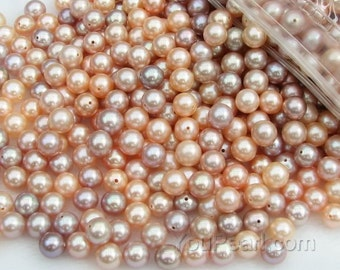 AA+ 6-6.5mm round pearls, multicolour pink lavender round freshwater loose pearls wholesale, high quality natural colour, FLR6065-M