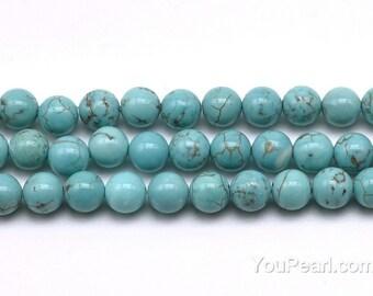 Turquoise beads, 6mm round, gemstone full strand, loose turquoise stone, natural gemstone beads, beads jewelry supply, TQS2020