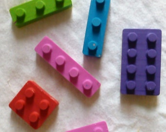 Recycled Crayons - Lego Brick - Set of 6 - Children Birthday Party Favor Gift