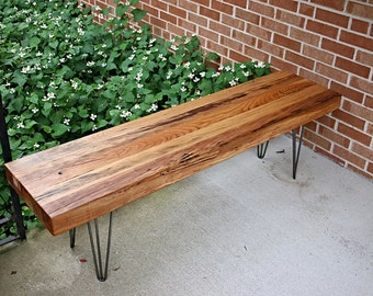 Wood bench, industrial wood bench, hairpin bench, reclaimed bench, industrial table, wood table, industrial table, hairpin bench