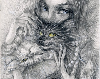Feline moods- Girl and Cats-PRINT of my original pencil drawing-Gift for cat lover,Cat wall art for home-blue eyes and yellow eyes-Love