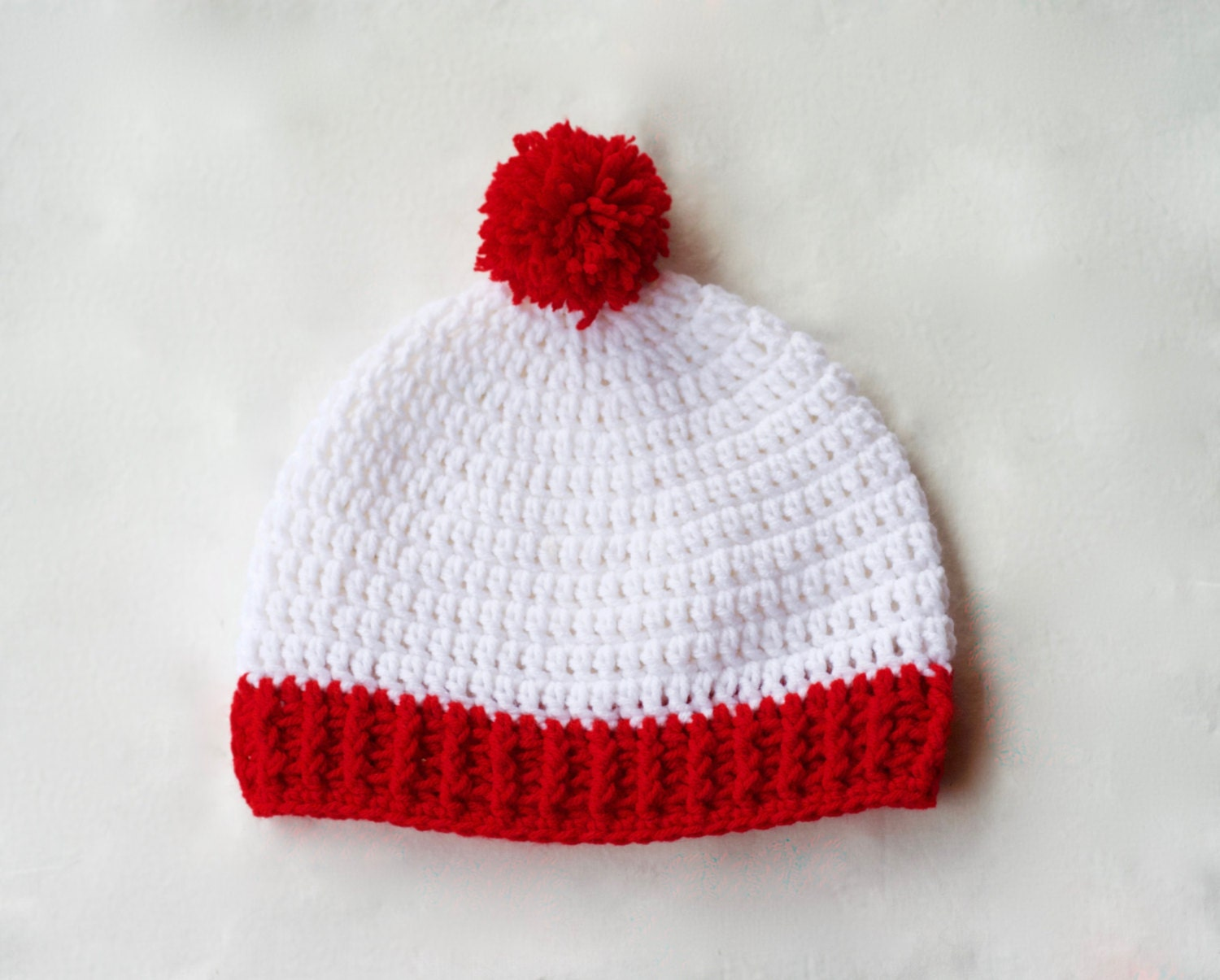 Crochet beanie red and white beanie winter hats by ...