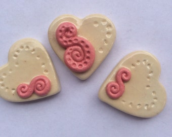Ceramic Pink And Ivory Heart Tiles Can Be Used In Mosaics And Other Mixed Media Projects
