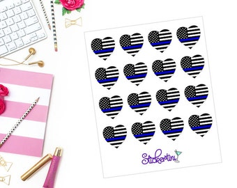 Thin Blue Line Heart Stickers