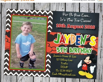 PERSONALIZED Mickey Mouse Invitation (ANY AGE), Mickey Birthday Invitation, Mickey Mouse Clubhouse, Photo Invitation, Mickey Party Printable