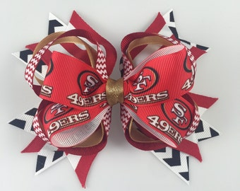 San Francisco 49ers Hair Bow! Red and Gold!