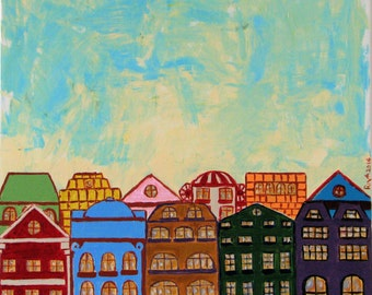 Original Painting, Colorful Houses and blue sky,Modern Art Canvas, Handmade Art