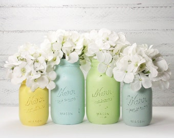 4- Hand Painted Mason Jars Flower Vases- Mimi Collection -Country Decor-Cottage Chic-Shabby Chic-French Chic